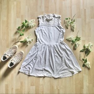 White cotton skater sleeveless lace crochet dress